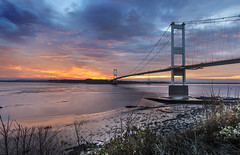 Severn Bridge at Beachley, Gloucestershire (Christopher Smith1) Tags: severn bridge beachley gloucestershire suspension river estuary sun rise set horizontal reflection beach sea tide sunset sunrise outdoor serene tranquil