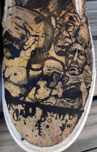 vans slip ons custom close up right shoe