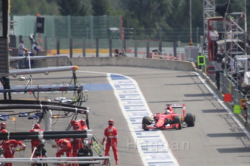 Sebastian Vettel in the pits during the 2015 Belgium Grand Prix