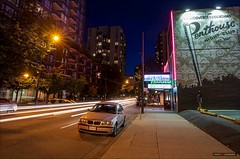 What Dreams Are Made Of (Clayton Perry Photoworks) Tags: longexposure summer canada skyline night vancouver lights stream downtown bc seymour stripjoint penthouseclub explorebc explorecanada ilovebc vancitybuzz
