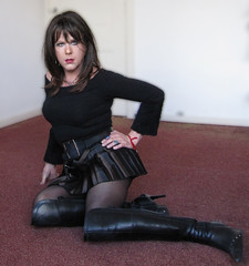 It's gonna be a loooong weekend..... (Irene Nyman) Tags: blue black cute sexy dutch belt high eyes legs boots over skirt lips tgirl tranny micro transvestite pout irene brunette knee crossdresser pleated heeled nyman travestiet