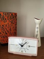 Sixties Metamec clock and Sylvac vase. The clock face is permanently illuminated. (humberama) Tags: old pink alarm clock coral vintage 60s ceramics retro pot vase 20thcentury sixties vintgae metamec sylvac vintageoldretrooriginalsixties60s