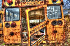 School Bus Rear (ildikoannable) Tags: metal junkyard schoolbus hdr autowrecker