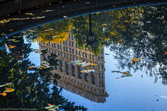 Reflection of the Flatiron Building (Carlos L. Yordan) Tags: park nyc newyorkcity autumn usa newyork building fall pool architecture canon reflections square lens cityscape manhattan midtown madison madisonsquarepark ef flatiron reflectionpool 6d architecturebuilding 24105mm eflens 24105mml ef24105mm