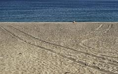 (p$ychoboyJ@ck) Tags: blue sea man beach greek seaside sand alone loneliness traces minimal uomo greece grecia spiaggia rodi rodes solitudine deserta rodhos