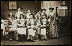 WSPU waitresses at Women's Exhibition, 1909.