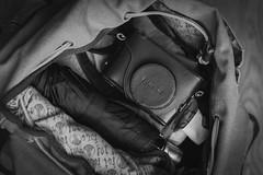 Ready to Go (gothick_matt) Tags: camera travel travelling home umbrella bag fuji fujifilm rucksack packed x100t
