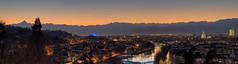 Torino (bluestardrop - Andrea Mucelli) Tags: torino turin piemonte piedmont italia italy crepuscolo twilight tramonto sunset monviso alpi alps montagne mountains po fiume river montedeicappuccini mole moleantonelliana grattacielo intesasanpaolo skyscraper