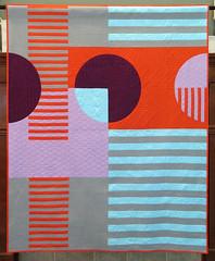 Urban Trek Quilt (Quiltachusetts - Heather Black) Tags: modern contemporary geometric quilt stripes curve piecing purple grey orange aqua burgandy walking foot quiltin