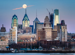 Good Morning, Philadelphia (mhoffman1) Tags: centercity comcastcenter delawareriver libertyplace philadelphia philly sonyalpha a7r city cityscape fullmoon lunar moon camden newjersey unitedstates us
