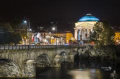 Lights on the Po (Stefano Laurita) Tags: italy turin italia night nikon sigma 1770 d7000 notte torino piemonte bridge po church architecture architettura lights city