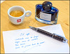 Cafe y tinta... (mike828 - Miguel Duran) Tags: cafe coffee taza cup tinta ink pilot iroshizuku konpeki deep azure blue estilografica pluma fountain pen paper papel illy sony rx100ii rx100m2 rx100mk2 baoer79