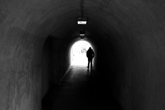 Strolling (maekke) Tags: zürich limmat tunnel silhouette availablelight highcontrast fujifilm x100t bw noiretblanc letten 2016 man underground switzerland ch pointofview pov streetphotography 35mm