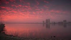 Skyline Almere (Alex Verweij) Tags: almere almerecity city stad skyline stadsgezicht weerwater ice ijs winter 2017 sunset sun zonsondergang orange oramje cloud fire wolken alexverweij canon 5d