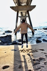 Levitating! (jdomenecbcn) Tags: canoneos700d flying bridge sea sun beach canon barcelona levitate