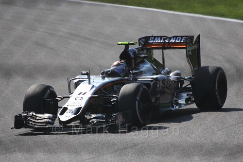 Sergio Perez in Free Practice 3 for the 2015 Belgium Grand Prix