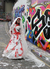 Here comes the bride (donbyatt) Tags: urban london graffiti zombies charityevent zombiewalk leakestreet worldzombieday