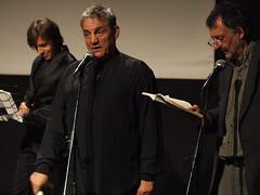 Gli attori Francesco salvi, Stefano de Majo e Fabio Bussotti in Il giullare di Assisi di Arnaldo Casali