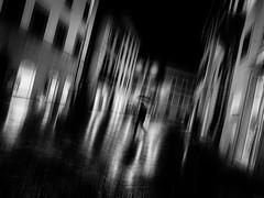 I come back (Natalini Cristian) Tags: street bw persona monocromo strada italia streetphotography ombre via luci toscana acqua vicolo riflessi pioggia bianco borgo nero cristian notte architettura ombrello citt palazzi edifici pistoia mosso sfocato paese contrasto creativo natalini