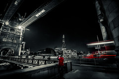 Something out of nothing (S.A.W. Pixels) Tags: road longexposure bridge red england building bus london tower towerbridge landscape amazing central picture tourist lighttrails shard selective selectivecolor travell londoncentral theshard
