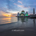 Malacca Straits Mosque. Sunset.