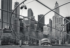 Springtime in Chicago, 2016 (Mark Messersmith) Tags: sculpture spring chicago illinois architecture millenniumpark city blackwhite cityscape canoneos6d skyline cloudgate greatlawn unitedstates us