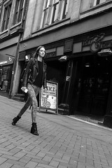 "-""- (dagomir.oniwenko1) Tags: step girl woman women female street style candid canon blackandwhite bw mono mode 36 nottingham england uk gb fashion"