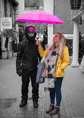 IMGP2396_C (silverfish51) Tags: pentax k1 dfa wr 2470 rain cornwall shopping umbrella desaturate selective pink yellow england britain biker contrast truro