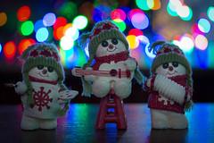 Holiday Rock (cuppyuppycake) Tags: holiday christmas snowmen snowman bokeh lights guitar playing music decoration ornament nikon d7200 band button eyes