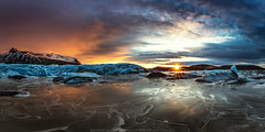 Sunset by the Glacier (Sigurdur William Photography) Tags: glacier lagoon ice frozen sunset sunrise dramatic iceland arctic shots winter cloud water mountain panorama
