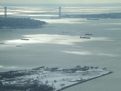Aerial View, Snow View, Governors Island, Verazzano Bridge, One World Observatory, World Trade Center Observation Deck, New York City (lensepix) Tags: aerialview snowview oneworldobservatory worldtradecenterobservationdeck newyorkcity observationdeck