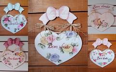 corações bem vindo (Imer atelie) Tags: coração bemvindo provençal pinturamdf imeratelie uberaba enfeiteporta decoração delicado laço rosas passarinho vintage