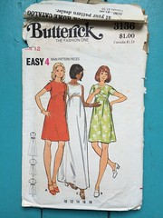 Butterick 3136 (kittee) Tags: kittee vintagesewing vintagepattern butterick 3136 butterick3136 size12 bust34 dress empirewaist semifitted aline shortsleeves sleeveless maxi mini shapedwaistline nodate 1970s 1960s sewing sewingpattern vintage pattern