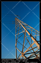 Electric pylon (__Viledevil__) Tags: blue cable color colors construction direct electric electricity energy framed insulator line main beam march masts skeleton sky solitary confinement station structure tower transmission voltage volts wire sanfernando cádiz españa