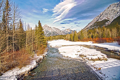 Bow river (Tony_Brasier) Tags: rocks river raw bridge woods mountains canada christmastrees sky d7200 nikon fields fishing clouds walking