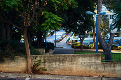 park in the morning (k0syak) Tags: park ltm morning urban house building tree window nature sign fence israel parkinglot pavement haifa manualfocus 550 f35 industar50 industar5050mmf35 industar503 sonynex5 screwmountm39ltm