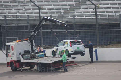 Scott Robertson's car is recovered in Fiesta Racing at Rockingham, Sept 2015
