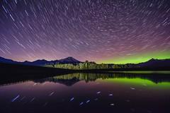 Dipper Reflects (sunrisesoup) Tags: usa lake lights washington aurora skagit northern mtbaker startrails borealis bigdipper whatcom bakerlake