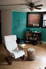 Living Room (Jeremy Whiting) Tags: city urban white house green photography living fan photo chair michigan room great detroit basement lakes tan indoor jeremy midtown stump whiting photog 313 eggleston motown