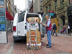 BostonCheckThatStack (fotosqrrl) Tags: urban boston massachusetts streetphotography delivery produce van handtruck tremontstreet winterstreet
