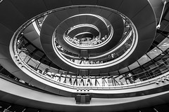 Warped (TS446Photo) Tags: bw white house black building london monochrome up thames architecture modern stairs spiral mono office nikon df glow open mayor interior space down southbank chrome staircase maze wormhole dslr openhouse cameraclub 1835mm nikon1835mm