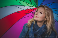 Rainbow (Helena Mim) Tags: people colorful greece portaits umbrela casualclothing blondewoman rainbowcolors helenamim