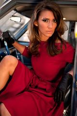 sandra thier (GermanTVwomen) Tags: red woman brown hot sexy leather lady female hair austria belt tv dress photoshoot sandra legs silk gloves mature german satin milf shirtdress presenter thier ootd
