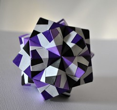 Black Ice (o0o0oecho0o0o) Tags: black paper 3d origami purple craft ornament modular modified icosahedron folding units sonobe sonobevariation