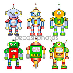Set of different colored cartoon robots (melissarutiaga) Tags: robot robots vector cute cartoon toy retro illustration collection machine cyborg icon set science technology game futuristic space monster robotics electric spaceman alien character computer android program fiction humanoid metal antenna mechanical isolated fun future element parts fantasy robotic electronic creature
