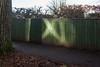 X marks the spot (Gary Kinsman) Tags: wendover buckinghamshire suburbs village smalltown canon5dmkii canoneos5dmarkii canon28mmf18 2016 fence reflectedlight shadow x xmarksthespot tree path dobbinslane