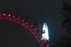 Over The Wheel... (JH Images.co.uk) Tags: london hdr dri night eye londoneye shard lights show red