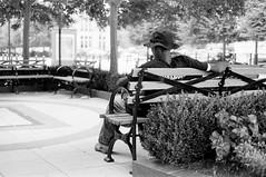 Courtyard Relaxation (TnOlyShooter) Tags: streetphotography nashville tennessee downtown rest relaxation break bench olympusom1 olympusomzuiko50mmf18 kodaktrix400 findlab film analog