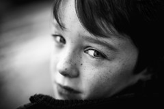 Innocent Son 12/156 (Explore 23/01/2017) (markfly1) Tags: innocent son black white monochrome candid grab shot shallow depth field soft focus eyes heavy contrast