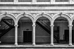 Orpheum Arches (Jae at Wits End) Tags: stairs monochrome architecture arch bw black blackwhite blackandwhite flight gray grey staircase steps treads white
